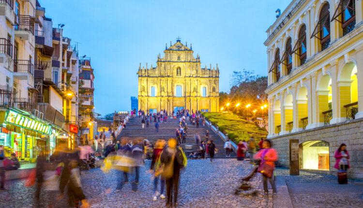 Night view of Ruins of St. Paul's in Macau, China